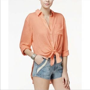 Free People That's A Wrap Button Down Tunic Blouse